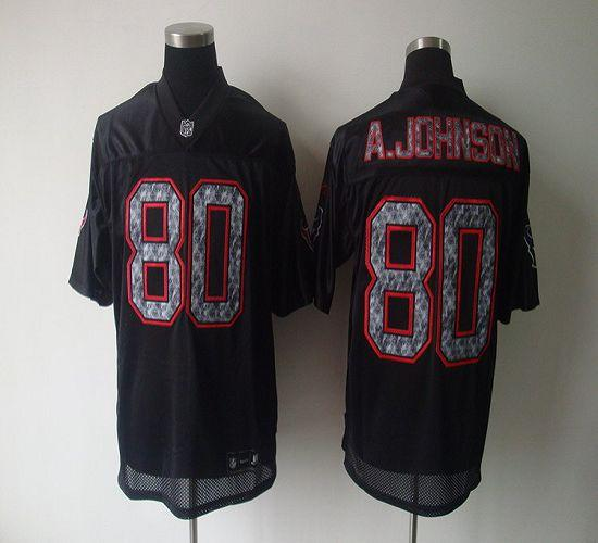 Sideline Black United Texans #80 A.Johnson Black Stitched NFL Jersey