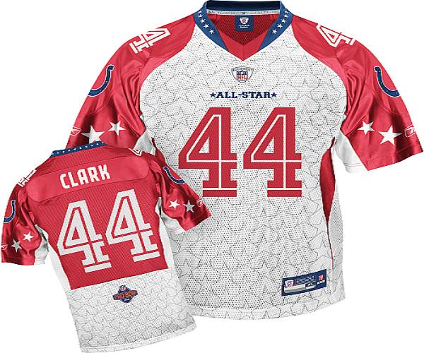 Colts #44 Dallas Clark Red 2010 Pro Bowl Stitched NFL Jersey