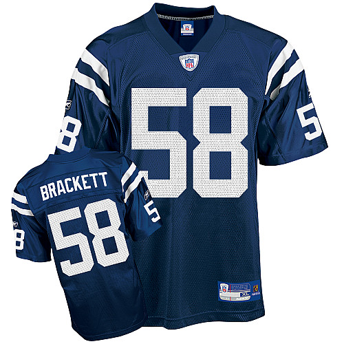 Colts #58 Gary Brackett Blue Stitched NFL Jersey