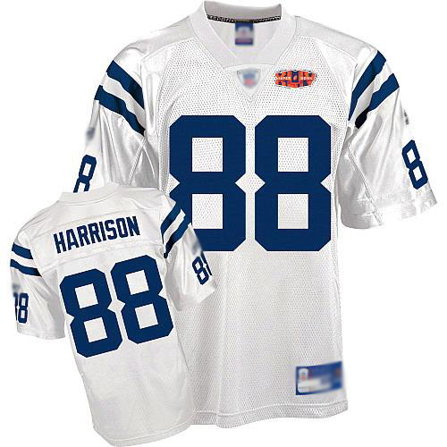Colts #88 Marvin Harrison White With Super Bowl Patch Stitched NFL Jersey