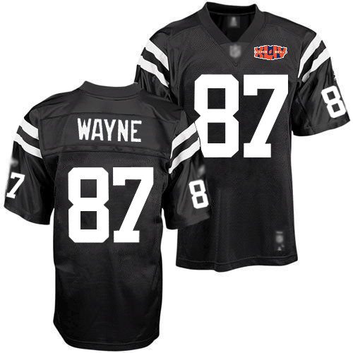 Colts #87 Reggie Wayne Black Shadow With Super Bowl Patch Stitched NFL Jersey