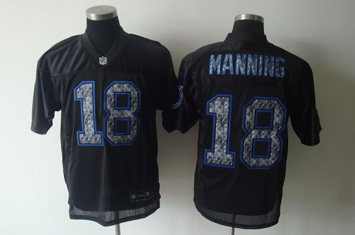 Sideline Black United Colts #18 Peyton Manning Black Stitched NFL Jersey