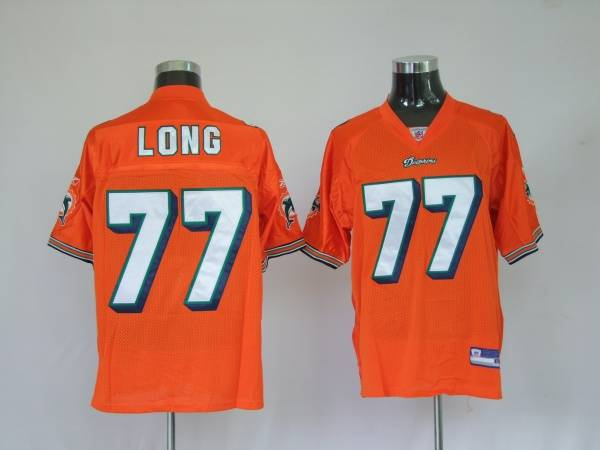 Dolphins Jake Long #77 Orange Stitched NFL Jersey