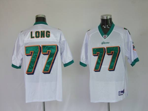 Dolphins Jake Long #77 White Stitched NFL Jersey