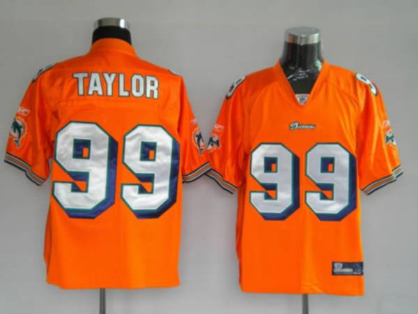Dolphins Jason Taylor #99 Orange Stitched NFL Jersey