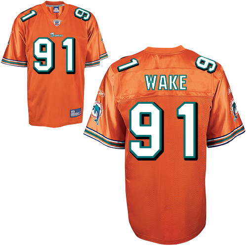 Dolphins #91 Cameron Wake Orange Stitched NFL Jersey