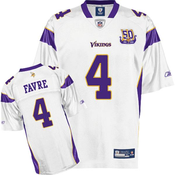 Vikings #4 Brett Favre White Team 50TH Patch Stitched NFL Jersey