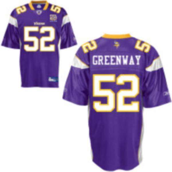 Vikings #52 Chad Greenway Purple Team 50TH Patch Stitched NFL Jersey