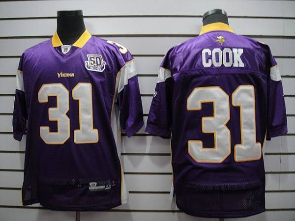Vikings #31 Chris Cook Purple Team 50TH Patch Stitched NFL Jersey