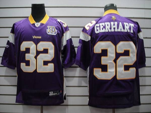 Vikings #32 Toby Gerhart Purple Team 50TH Patch Stitched NFL Jersey
