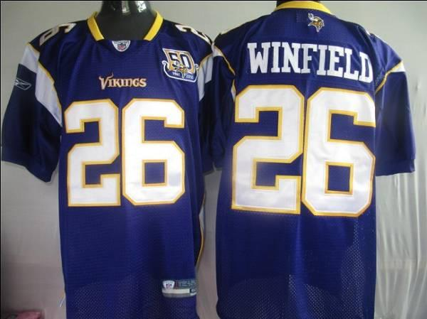 Vikings #26 Antoine Winfield Purple Team 50TH Patch Stitched NFL Jersey