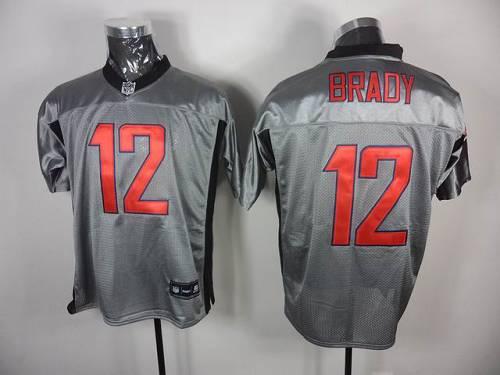 Patriots #12 Tom Brady Grey Shadow Stitched NFL Jersey