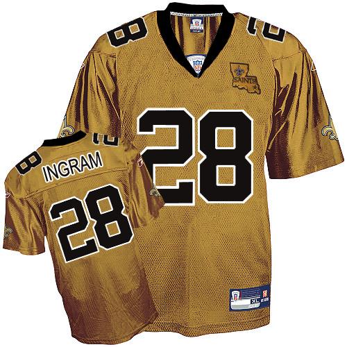 Saints #28 Mark Ingram Gold Stitched NFL Jersey
