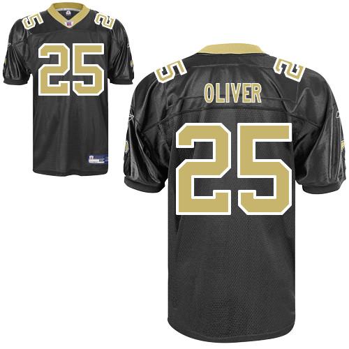 Saints #25 Paul Oliver Black Stitched NFL Jersey