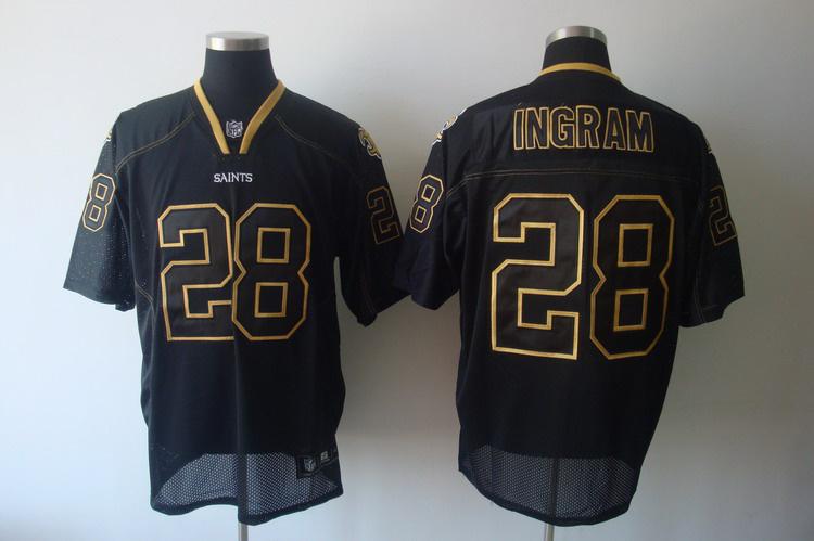 Saints #28 Mark Ingram Lights Out Black Stitched NFL Jersey