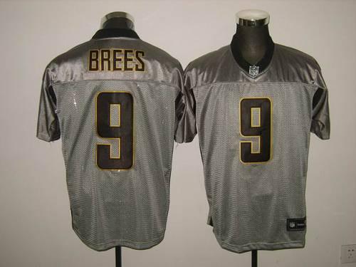 Saints #9 Drew Brees Grey Shadow Stitched NFL Jersey