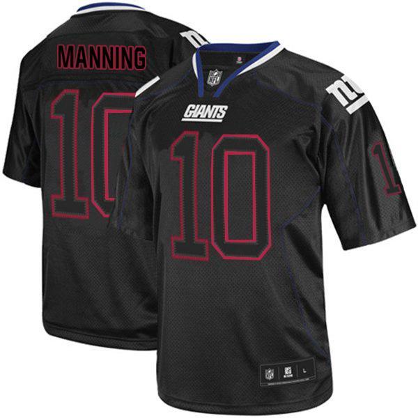 Giants #10 Eli Manning Lights Out Black Stitched NFL Jersey