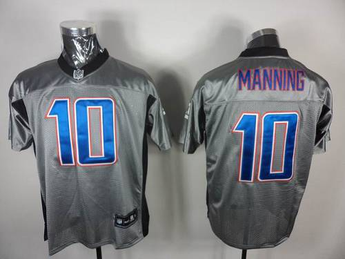 Giants #10 Eli Manning Grey Shadow Stitched NFL Jersey