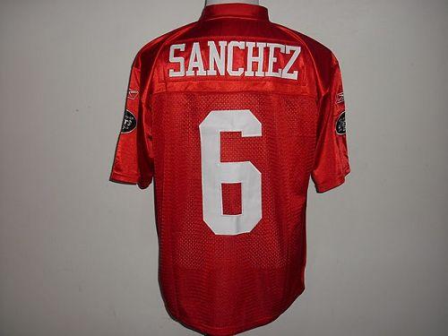 Jets #6 Mark Sanchez Red QB Practice Stitched NFL Jersey