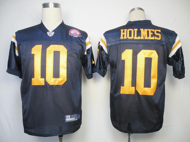 Jets #10 Santonio Holmes Dark Blue With AFL 50TH Patch Stitched NFL Jersey