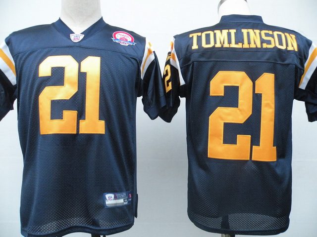 Jets #21 LaDainian Tomlinson Dark Blue With AFL 50TH Patch Stitched NFL Jersey