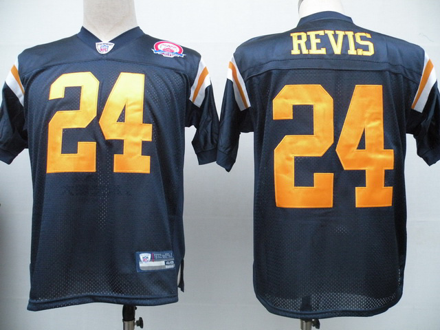 Jets #24 Darrelle Revis Dark Blue With AFL 50TH Patch Stitched NFL Jersey
