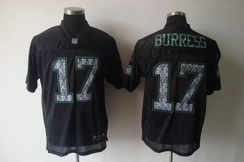 Sideline Black United Jets #17 Plaxico Burress Black Stitched NFL Jersey