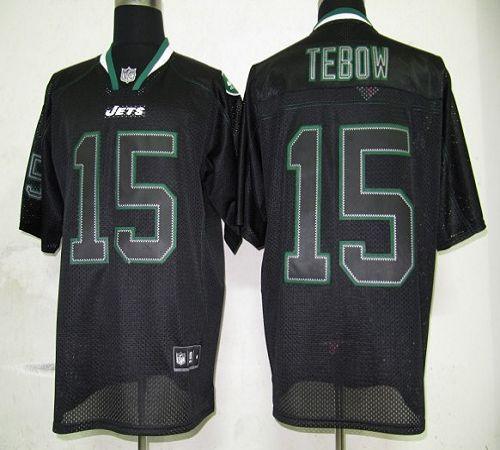 Jets #15 Tim Tebow Lights Out Black Stitched NFL Jersey
