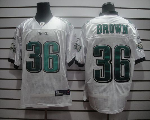 Eagles #36 Ronnie Brown White Stitched NFL Jersey