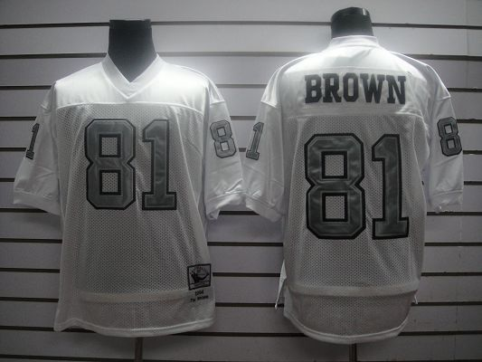 Mitchell And Ness 1994 Raiders #81 T.Brown White Silver No. Stitched NFL Jersey With 75TH Anniversary Patch