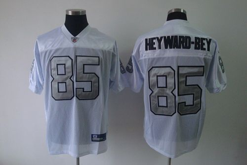 Raiders #85 Darrius Heyward-Bey White Silver Grey No. Stitched NFL Jersey