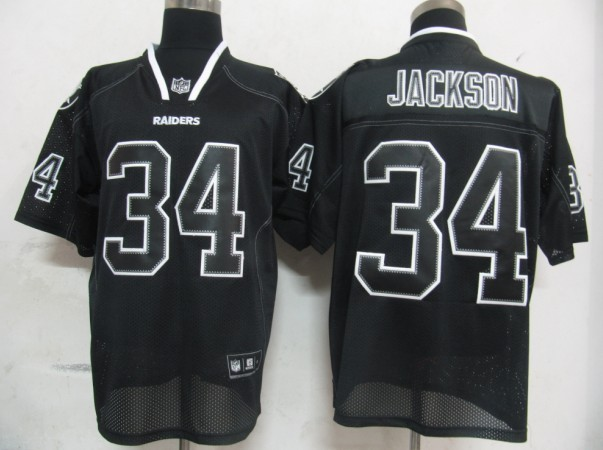 Raiders #34 Bo Jackson Lights Out Black Stitched NFL Jersey