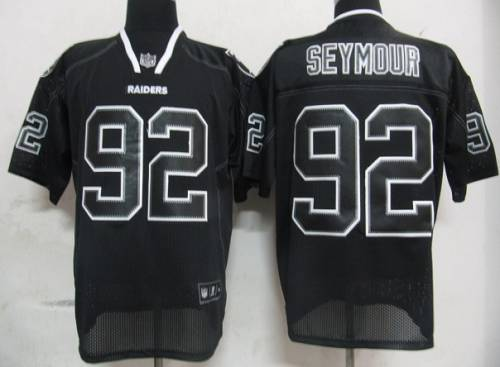 Raiders #92 Richard Seymour Lights Out Black Stitched NFL Jersey