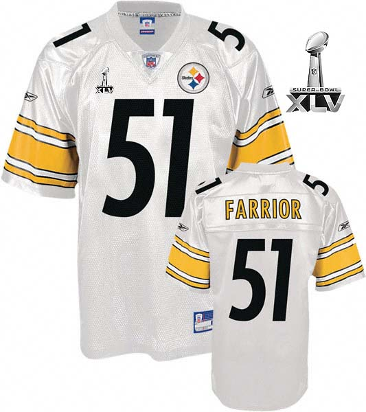 Steelers #51 James Farrior White Super Bowl XLV Stitched NFL Jersey