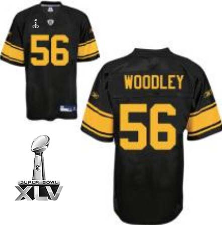 Steelers #56 LaMarr Woodley Black With Yellow Number Super Bowl XLV Stitched NFL Jersey