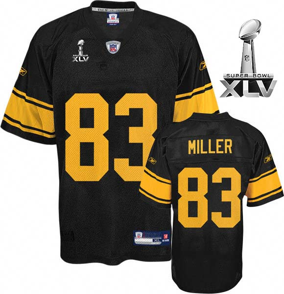 Steelers #83 Heath Miller Black With Yellow Number Super Bowl XLV Stitched NFL Jersey