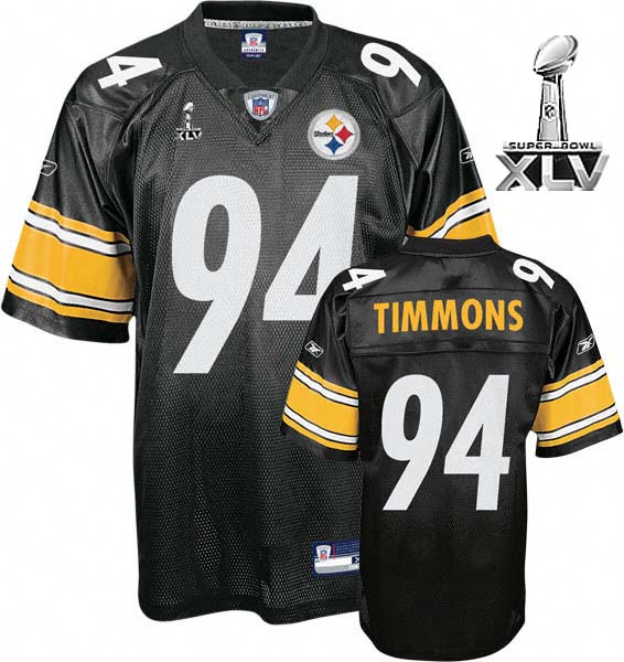 Steelers #94 Lawrence Timmons Black Super Bowl XLV Stitched NFL Jersey