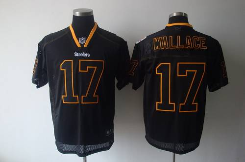 Steelers #17 Mike Wallace Lights Out Black Stitched NFL Jersey