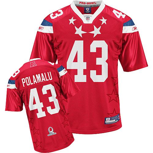 Steelers #43 Troy Polamalu 2011 Red Pro Bowl Stitched NFL Jersey