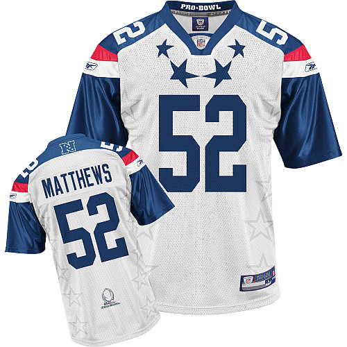 Packers #52 Clay Matthews 2011 White and Blue Pro Bowl Stitched NFL Jersey