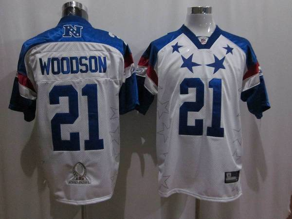 Packers #21 Charles Woodson 2011 White and Blue Pro Bowl Stitched NFL Jersey