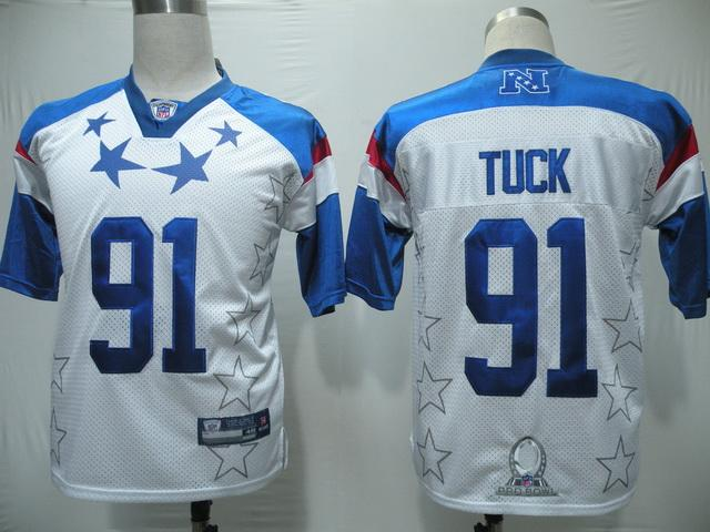 Giants #91 Justin Tuck 2011 White and Blue Pro Bowl Stitched NFL Jersey