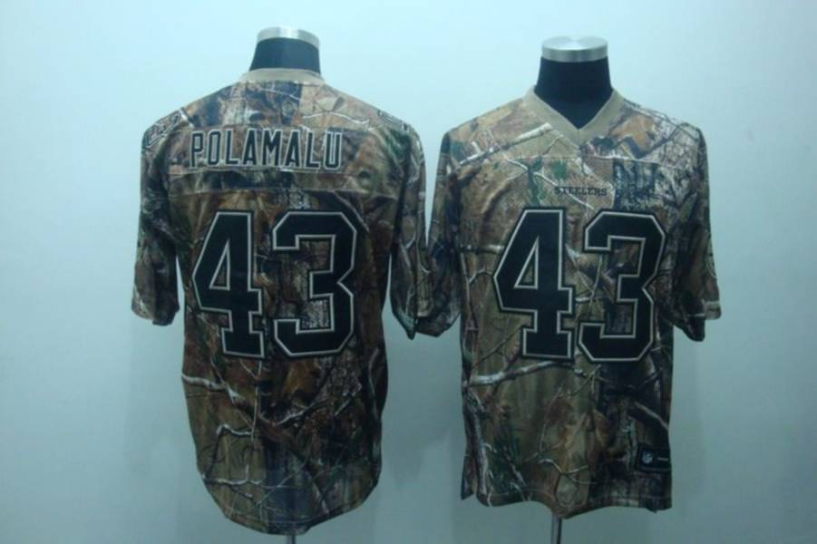 Steelers #43 Troy Polamalu Camouflage Realtree Embroidered NFL Jersey