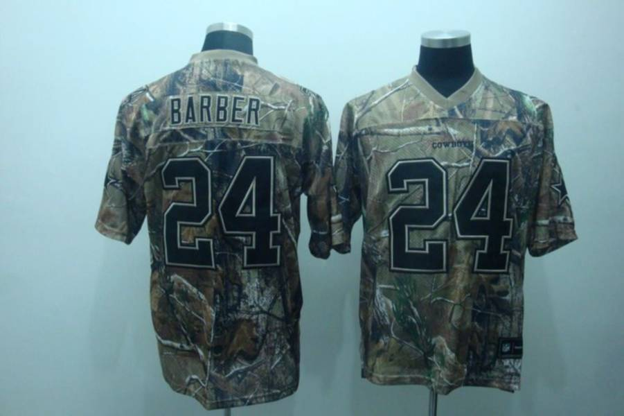 Cowboys #24 Marion Barber Camouflage Realtree Embroidered NFL Jersey