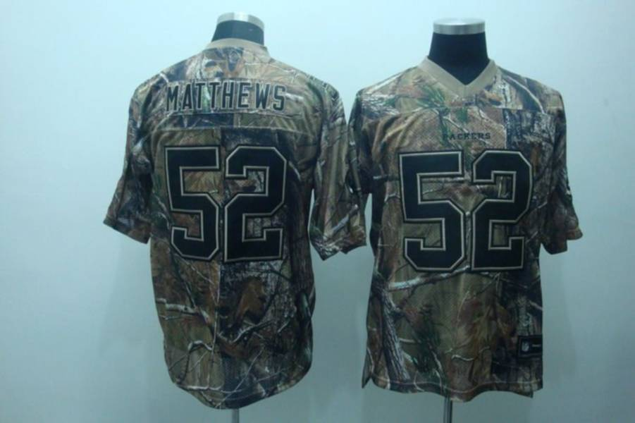 Packers #52 Clay Matthews Camouflage Realtree Embroidered NFL Jersey