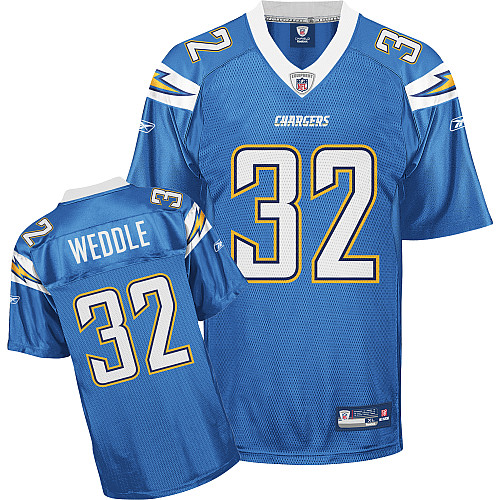 Chargers #32 Eric Weddle Light Blue Stitched NFL Jersey
