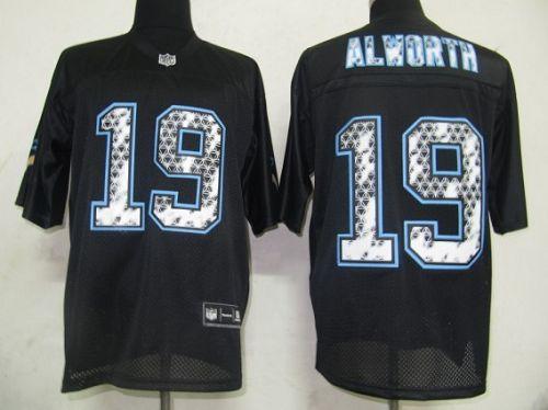 Sideline Black United Chargers #19 Lance Alworth Black Stitched NFL Jersey
