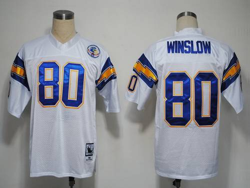 Mitchell And Ness 1984 Chargers #80 Kellen Winslow White Stitched NFL Jersey