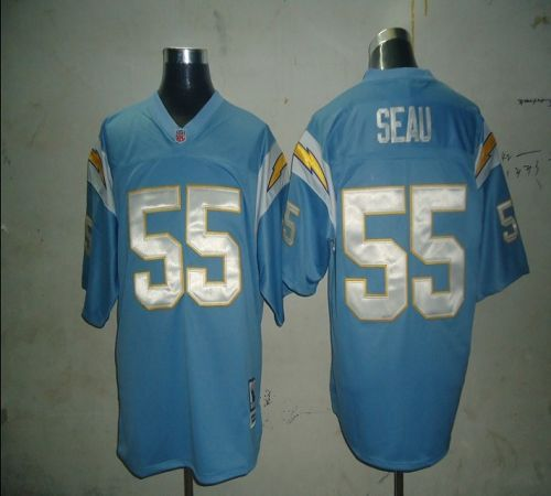Mitchell And Ness Chargers #55 Junior Seau Light Blue Stitched NFL Jersey