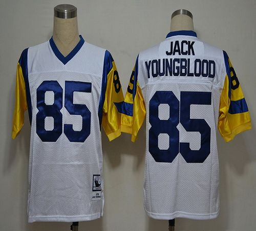 Mitchell And Ness Rams #85 Jack Youngblood White Stitched NFL Jersey